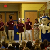 Baccalaureate of Science in Nursing students presenting buckle up bear at elementary school.